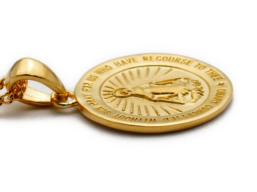 画像3: K18 イエローゴールド マット×ハイポリッシュ マリア コイン メダイ ペンダントチェーンセット※チェーンお選び頂けます