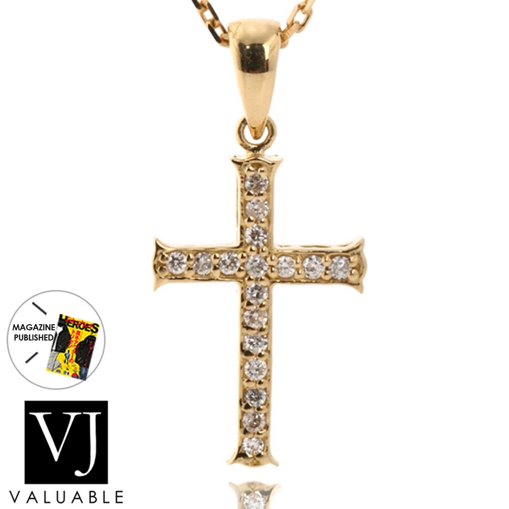 画像1: K18  ダイヤモンド イエローゴールド  クロス ペンダント チェーンセット