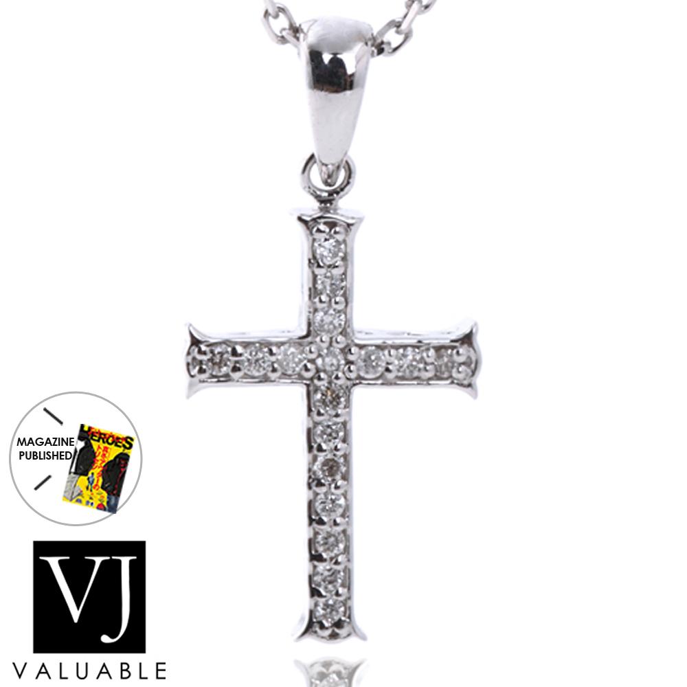 画像1: K18  ダイヤモンド ホワイトゴールド  クロス ペンダントチェーンセット