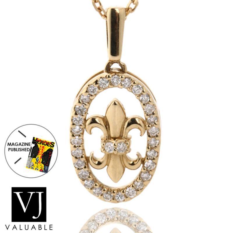 画像1: K18 ダイヤモンド イエローゴールド リリー フレア ペンダント