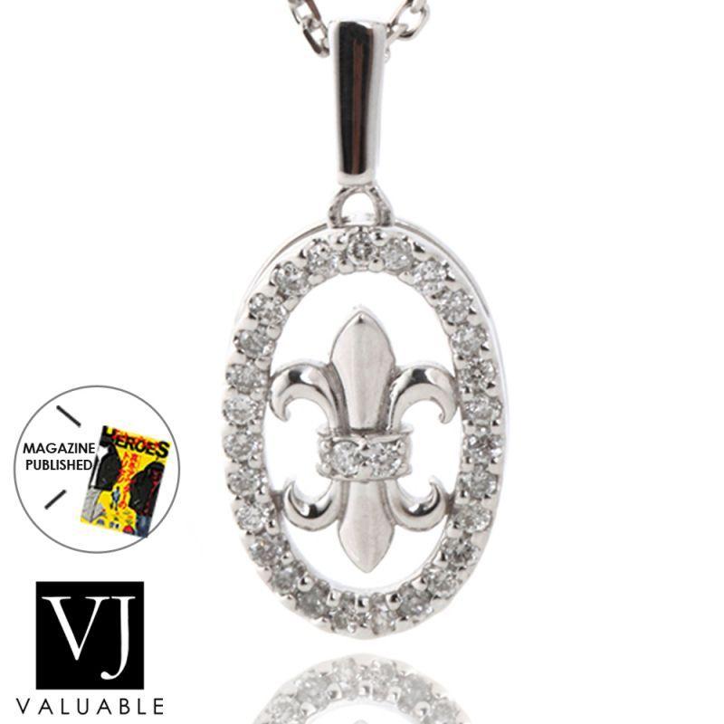 画像1: K18 ダイヤモンド ホワイトゴールド リリー フレア ペンダントチェーンセット