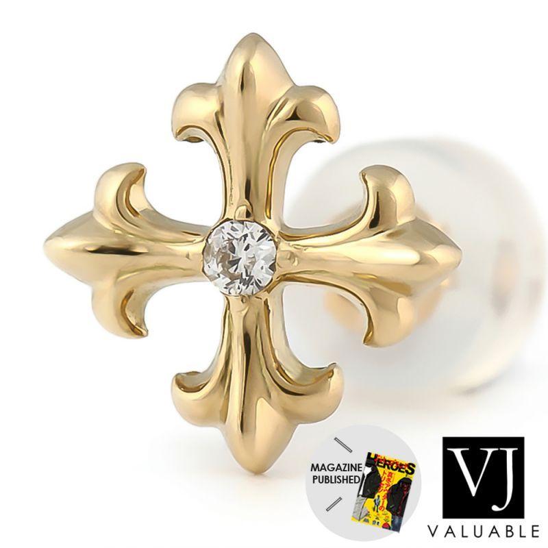 画像1: VJ【ブイジェイ】 K18 イエローゴールド ダイヤモンド マグノリア クロス ピアス ※1個販売(片耳)