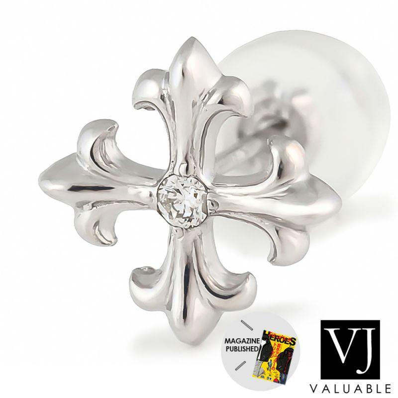 画像1: VJ【ブイジェイ】 K18 ホワイトゴールド ダイヤモンド マグノリア クロス ピアス ※1個販売(片耳)
