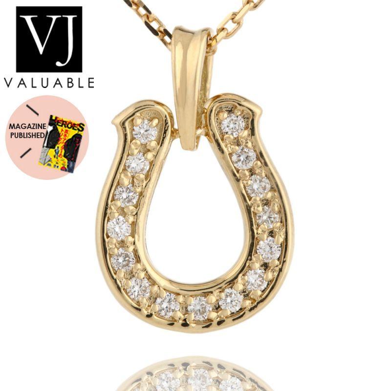 画像1: K18  ダイヤモンド イエローゴールド モナナ ホースシュー ペンダント
