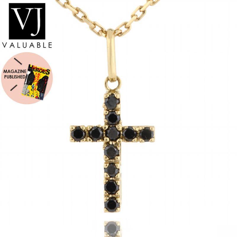 画像1: VJ【ブイジェイ】K18 イエローゴールド ブラックダイヤモンド ベイビー クロス  ペンダント