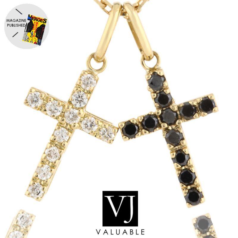 画像1: VJ【ブイジェイ】K18 イエローゴールド メンズ レディース ダイヤモンド ベイビー  ダブルクロス ペンダントチェーンセット※チェーン長さ45cm.50cmから選択