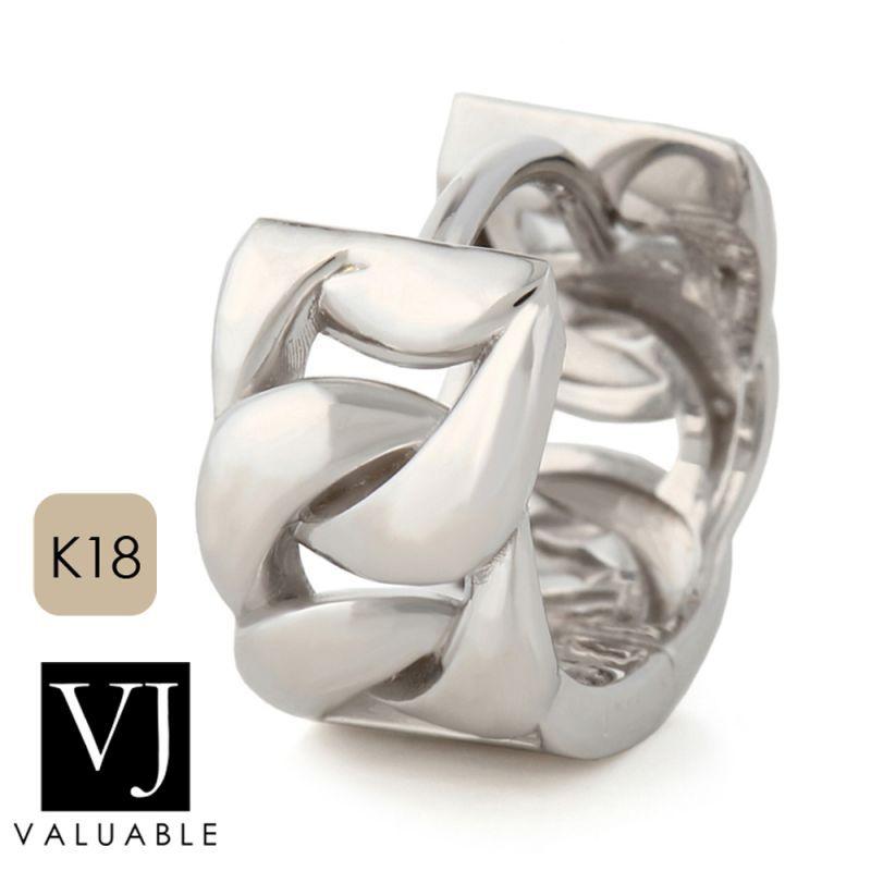 画像1: K18 ホワイトゴールド キヘイ(マイアミキューバン) 中折れ フープ ピアス 18金 リング※1個販売(片耳)