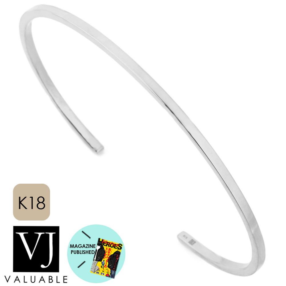 画像1: VJ【ブイジェイ】メンズ K18 ホワイトゴールド エンドオブ Sバングル