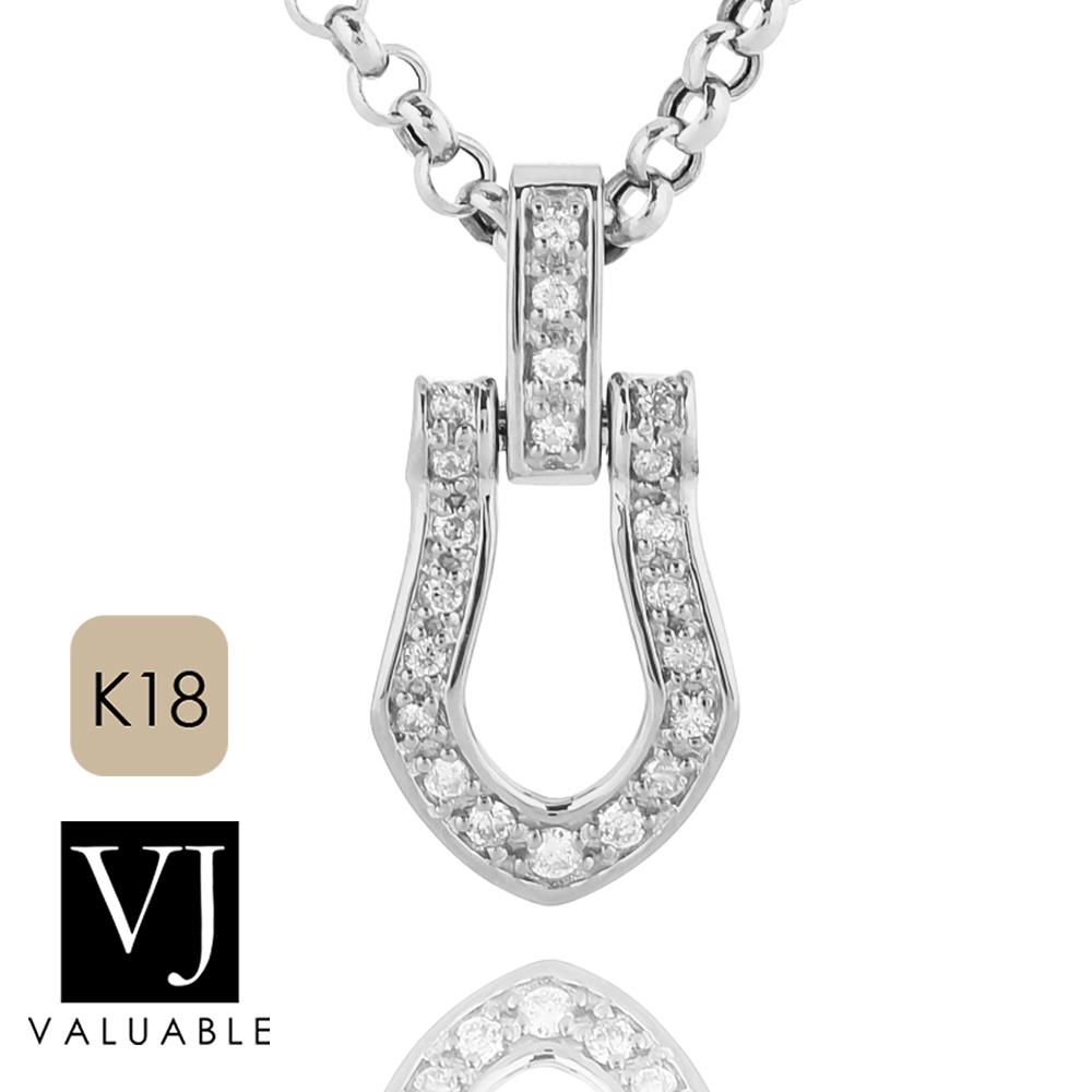 画像1: VJ【ブイジェイ】K18 ホワイトゴールド  フルダイヤモンド ホースシュー ペンダント
