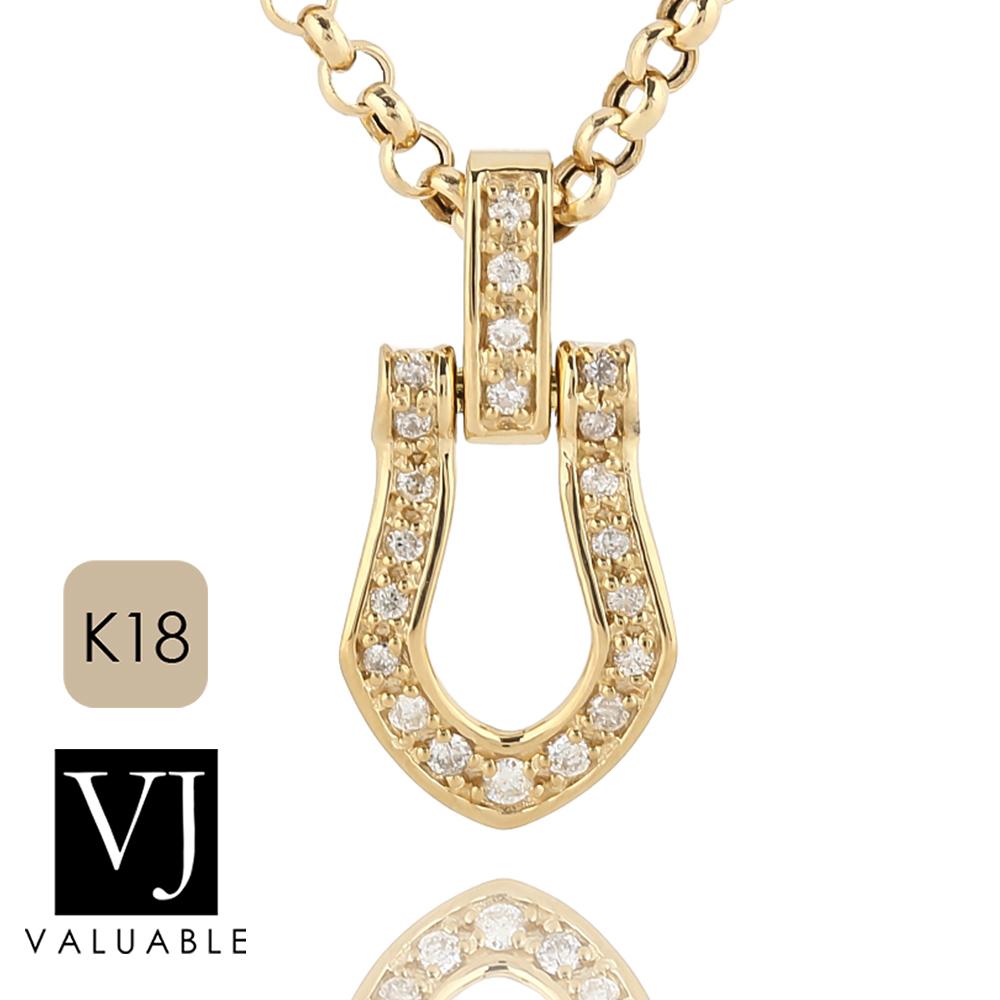 画像1: VJ【ブイジェイ】K18 イエローゴールド  フルダイヤモンド ホースシュー ペンダント