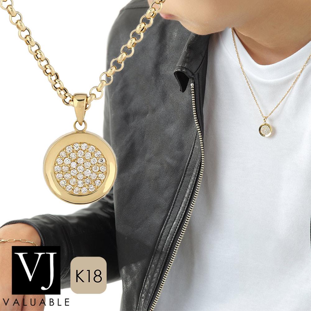 画像1: VJ【ブイジェイ】K18 イエローゴールド クラッシュド ダイヤモンド コイン ペンダント