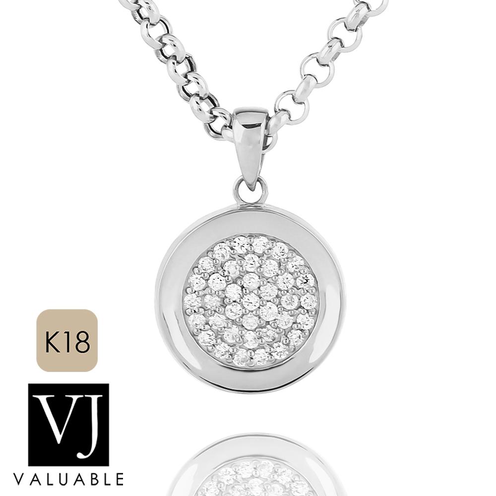 画像1: VJ【ブイジェイ】K18 ホワイトゴールド クラッシュド ダイヤモンド コイン ペンダント