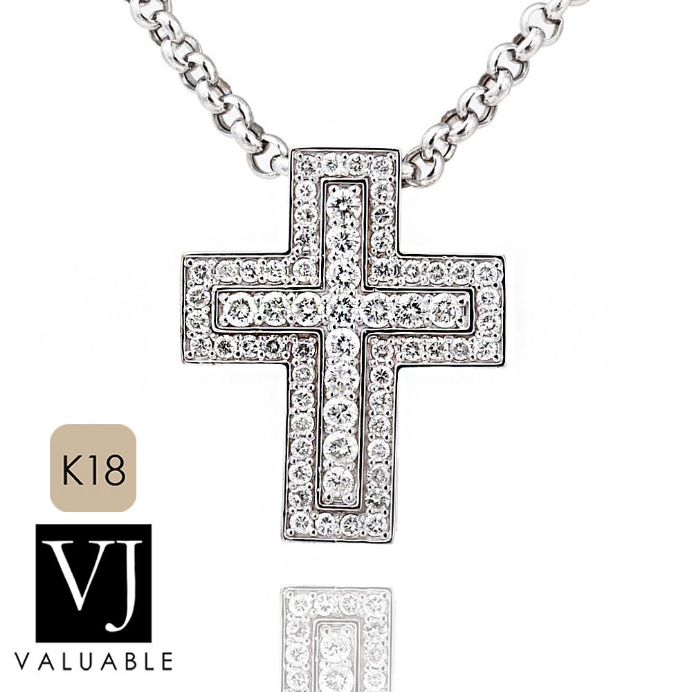 画像1: VJ【ブイジェイ】K18 ホワイトゴールド ダイヤモンド マグニフィコ クロス ペンダント