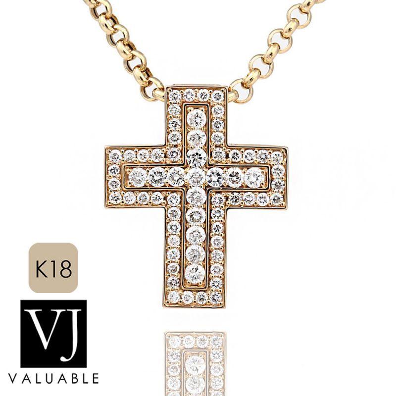画像1: VJ【ブイジェイ】K18 イエローゴールド ダイヤモンド マグニフィコ クロス ペンダントロールチェーンセット