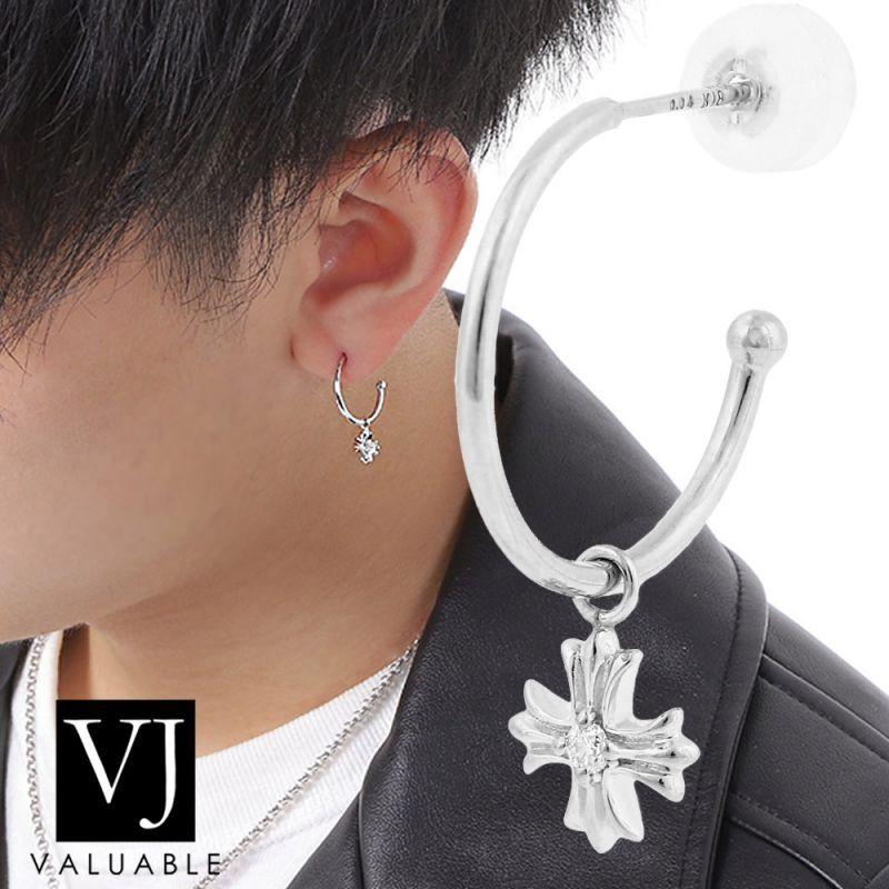画像1:  K18 ホワイトゴールド メンズ スウィング ダイヤモンド ベイビー クロス フープ ピアス  ※1個販売(片耳)
