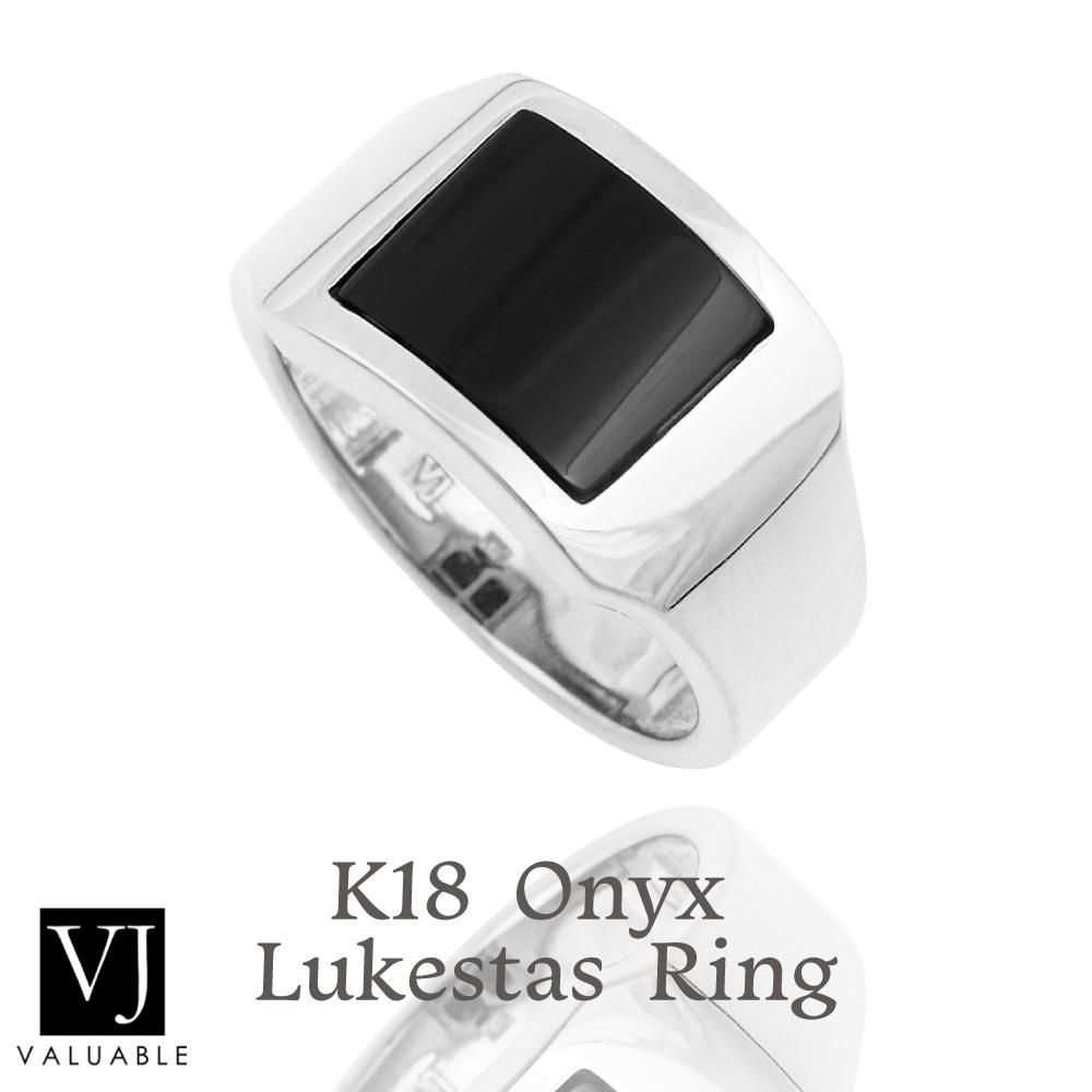 画像1: VJ【ブイジェイ】 K18 ホワイトゴールド オニキス メンズ ルークスタス リング