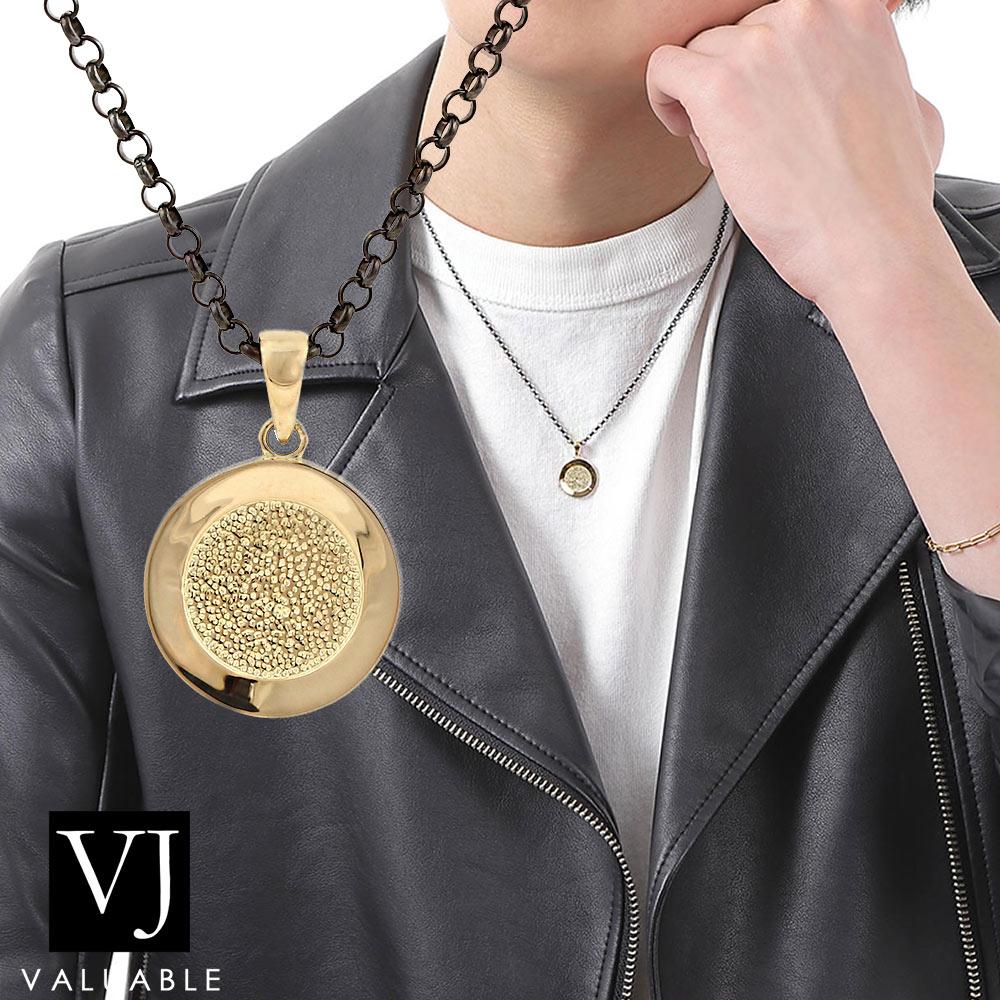 画像1: VJ K18  イエローゴールド B&Yコレクション テクスチャーコイン ペンダント ブラック ロール チェーンセット