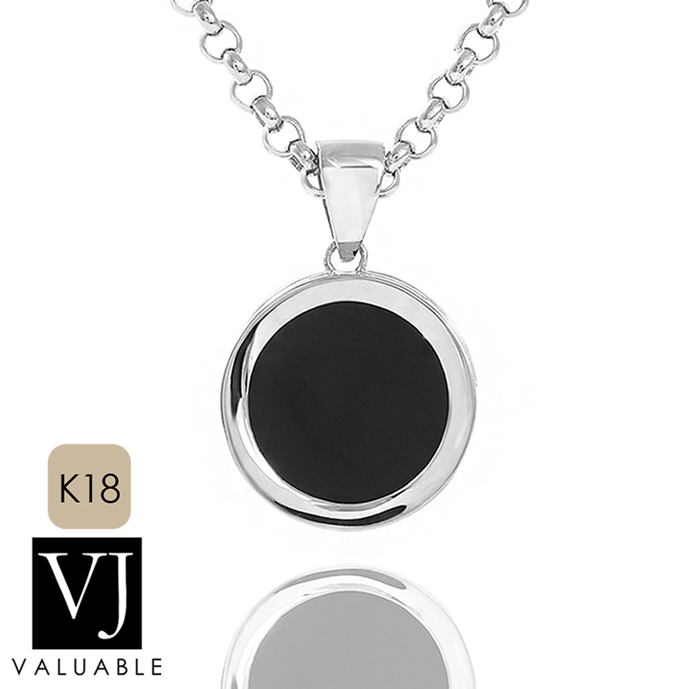 画像1: VJ【ブイジェイ】K18 ホワイトゴールド オニキス ブラック コイン ペンダント ※ペンダントのみ