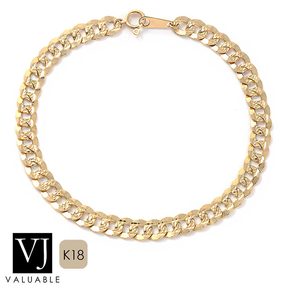 画像1: K18 イエローゴールド メンズ ダイヤモンドカット キューバン チェーン ブレスレット