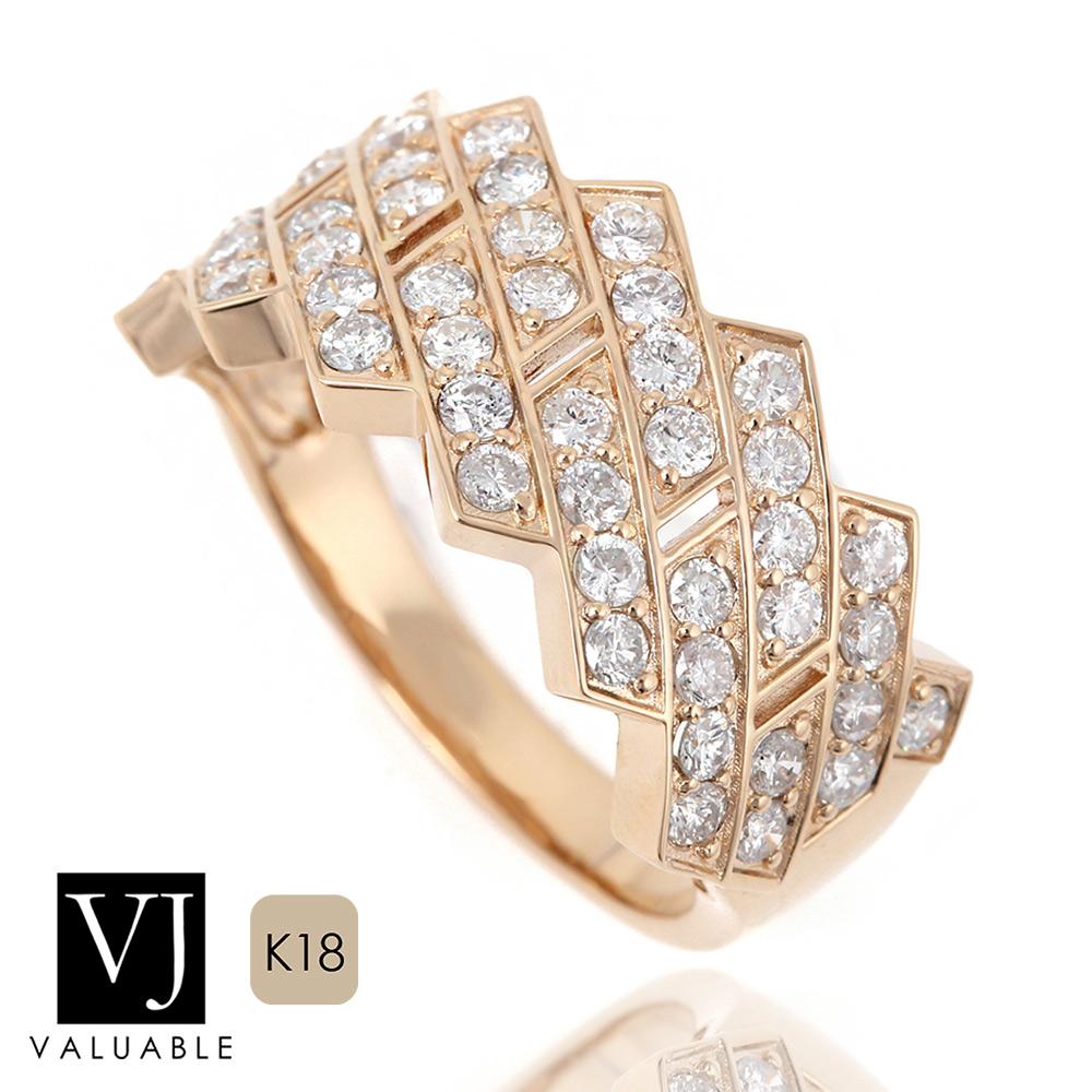 画像1: VJ【ブイジェイ】K18 イエローゴールド メンズ ダイヤモンド 1.10ct キング クラウン マイアミ リング PART2
