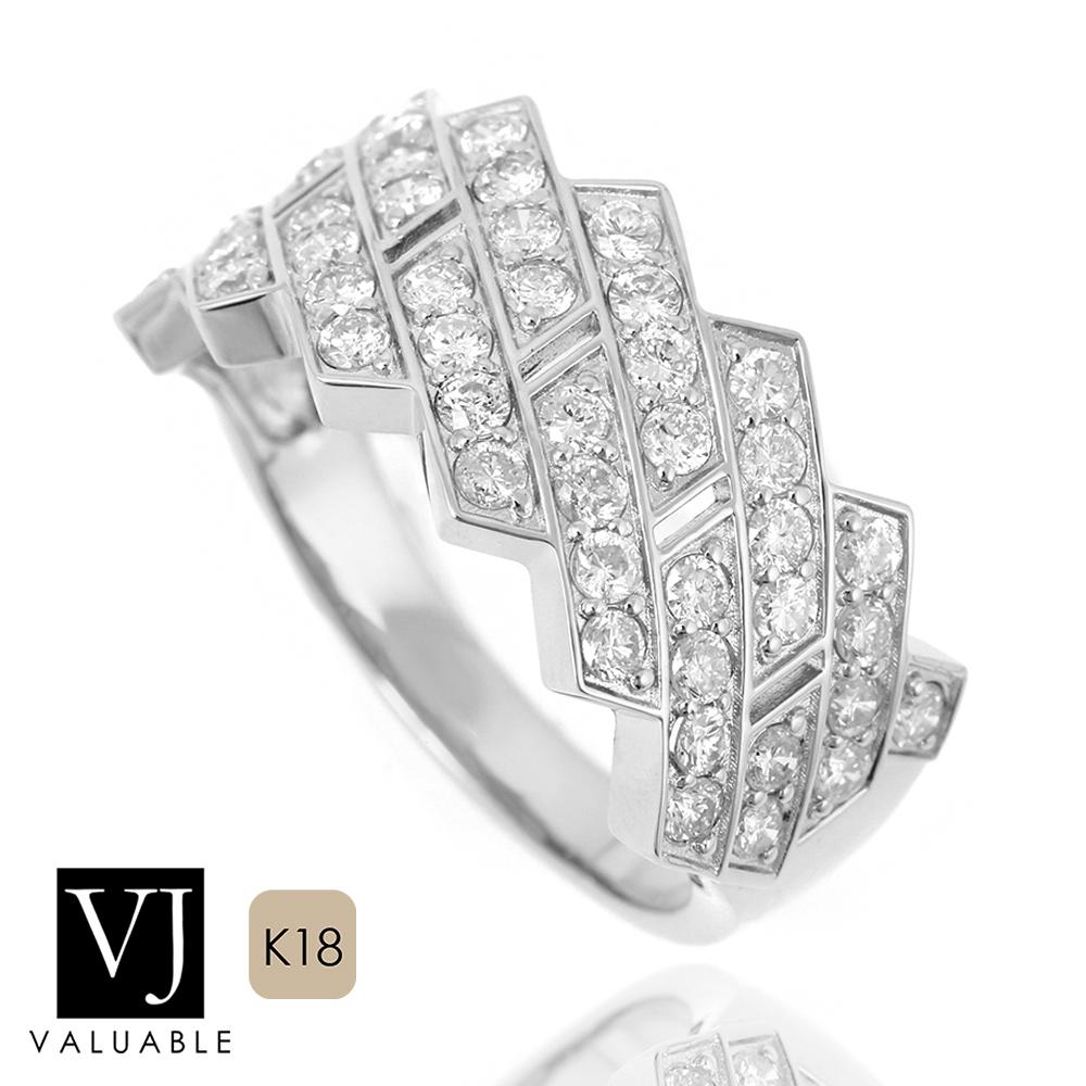 画像1: VJ【ブイジェイ】K18 ホワイトゴールド メンズ ダイヤモンド 1.10ct キング クラウン マイアミ リング PART2