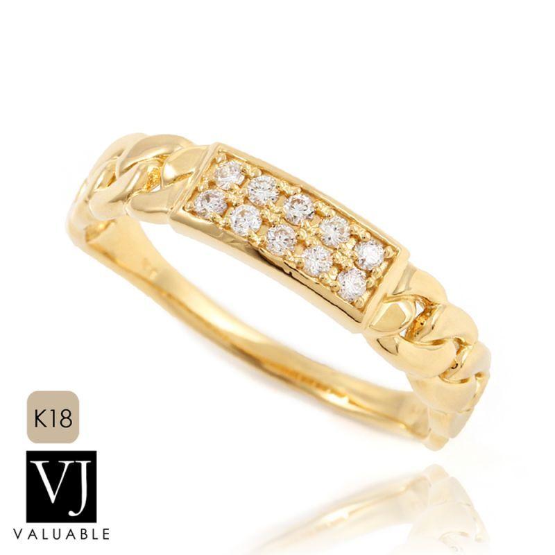 画像1:  K18 イエローゴールド ダイヤモンド マイアミ キューバン プレート リング