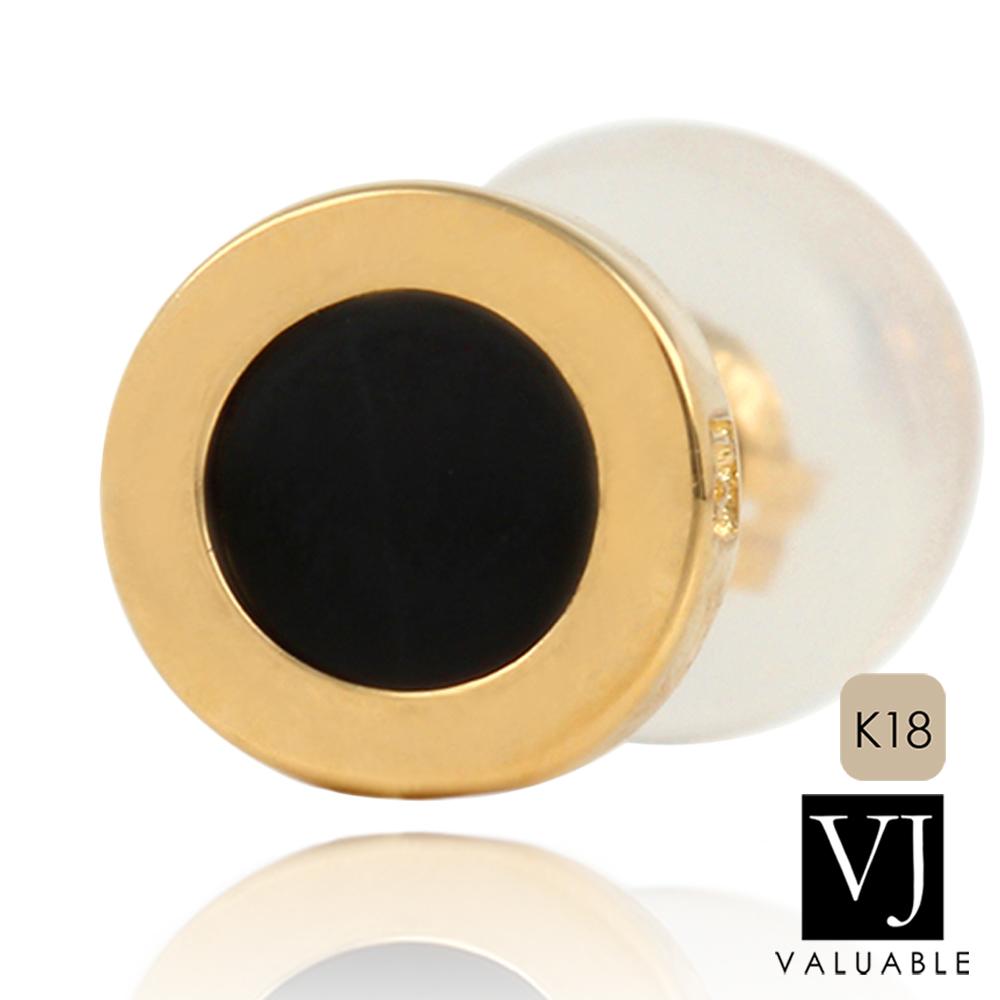 画像1: VJ【ブイジェイ】 K18 イエローゴールド オニキス ナンバー8 ピアス ※1個販売(片耳)