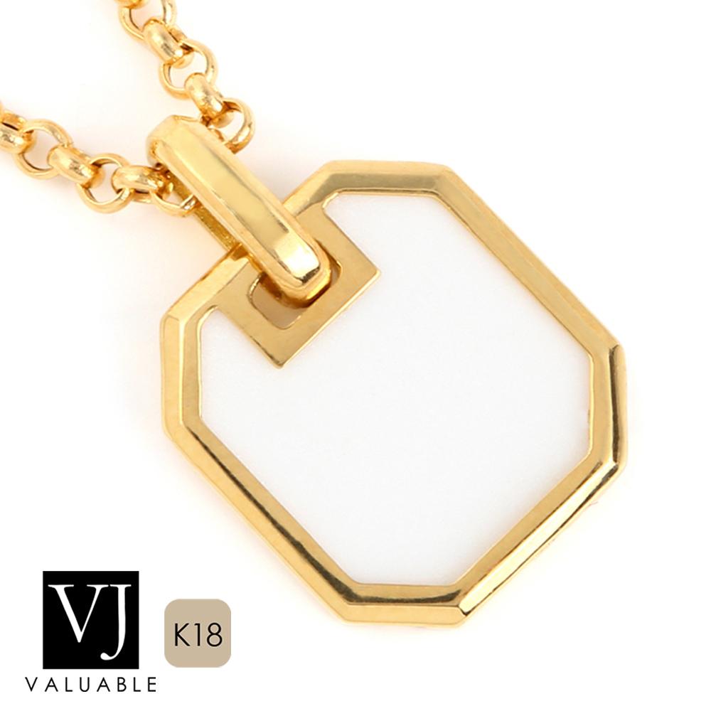 画像1: VJ【ブイジェイ】K18 イエローゴールド ホワイトアゲート ナンバー8 ペンダント※ペンダントのみ 18金 18K ネックレス