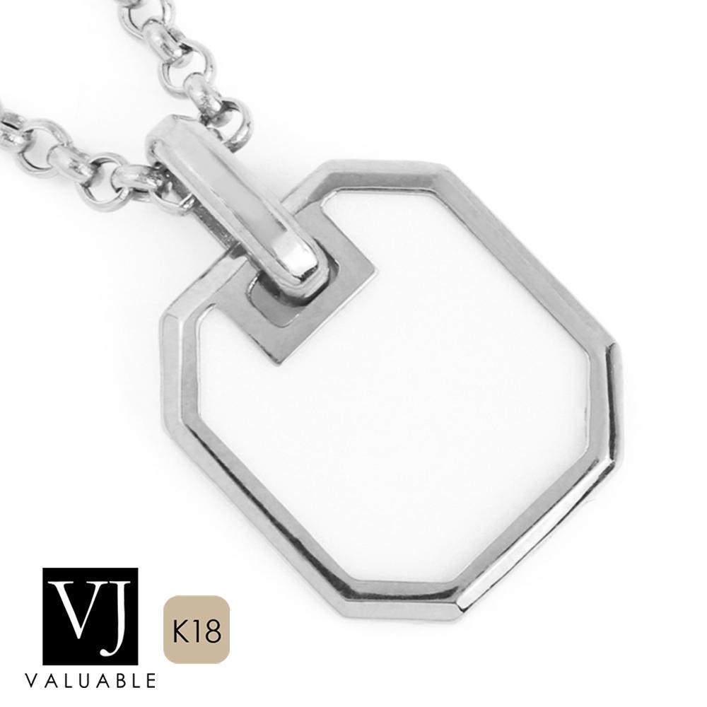 画像1: VJ【ブイジェイ】K18 ホワイトゴールド ホワイトアゲート ナンバー8 ペンダント※ペンダントのみ 18金 18K ネックレス