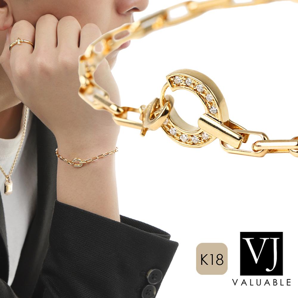 画像1: VJ【ブイジェイ】K18 イエローゴールド ダイヤモンド アイス O ホースシュー ブレスレット