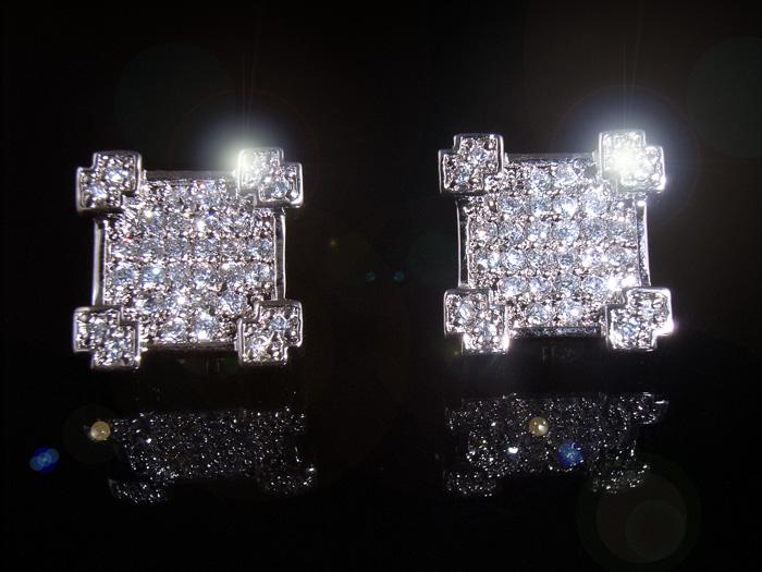 画像1: SVハイクラス マイクロダイヤモンドセッティングCZ  4スノーシードピアス