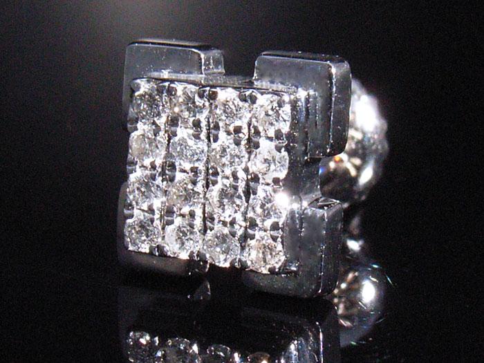 画像1: Joe Rodeoコレクションモデル 14K ホワイトゴールド ダイヤモンド0.18ctピアス※1個販売となります。